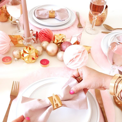 DIY Pink Bow Napkins & Copper Monogram Napkin Rings