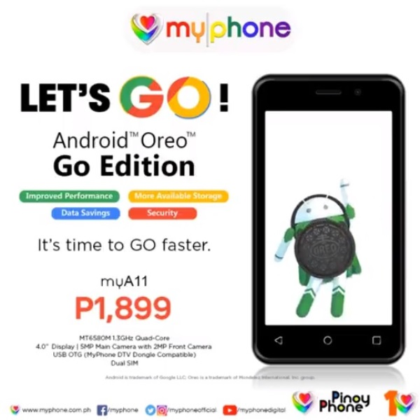 MyPhone Outs myA11 for only Php1,988: Runs on Android Oreo (Go Edition)