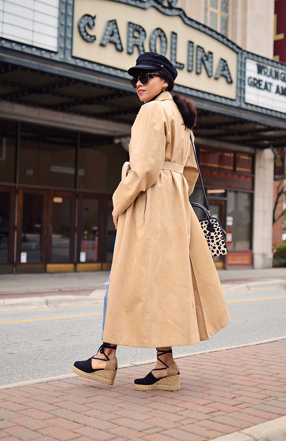 Suede coat street style
