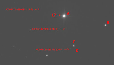 annotated photograph of HR 8 A, B, C, and D