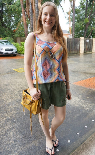 colourful mixed print thrifted tank with olive floral embroidered short mustard yellow bag summer style | awayfromblue
