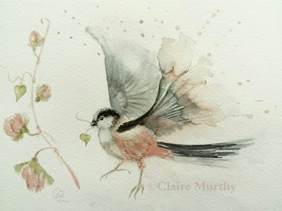 Watercolour painting of a garden bird paintings