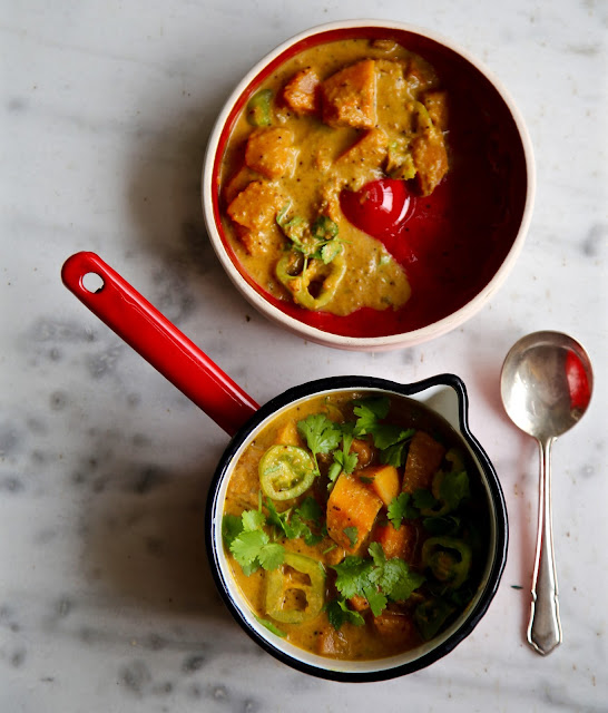 Vegan Coriander, Butternut Squash and Green tomato curry