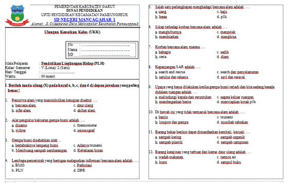 Soal Ulangan Kenaikan Kelas (UKK) PLH Kelas 5