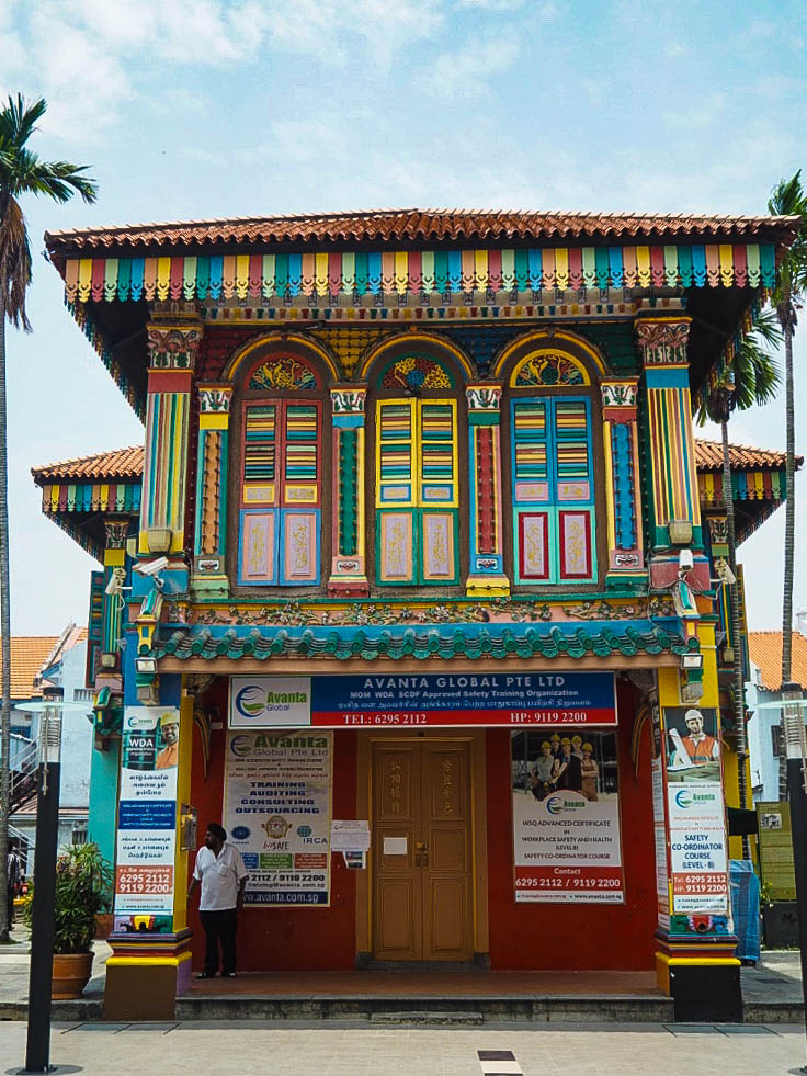 Colourful houses in Little India, Singapore