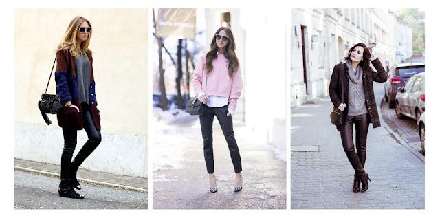 Кожаные брюки со свитером и кардиганом