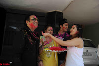 Govinda celeting Holi with His family wife daughter 012.JPG