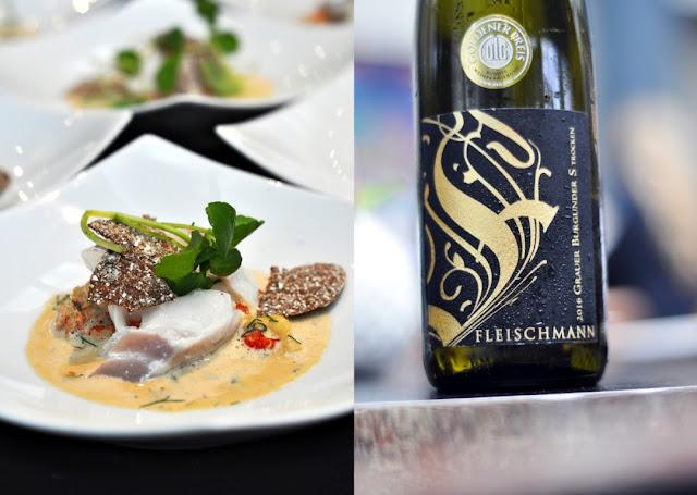 Kabeljau süß-sauer auf Flusskrebsragout und Grauburgunder S trocken vom Weingut Fleischmann