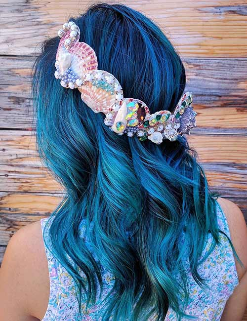 Mermaid Hair Color Idea - Crowned Mermaid