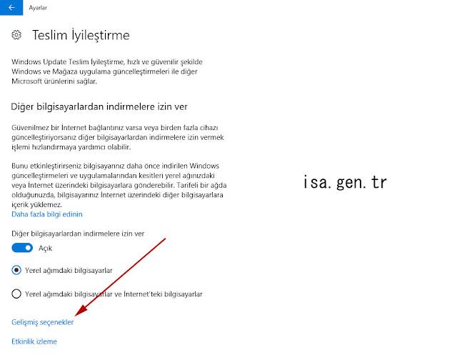 windows 10 güncelleştirmeleri için indirme limiti nasıl ayarları