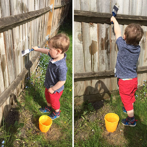 Dad Hack let your kid Paint the fence with water. Necessity? marchmatron.com