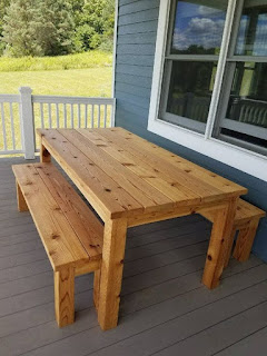Picture Outdoor Cedar Picnic Table Set