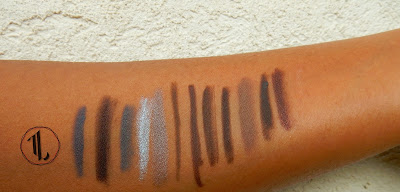 Pencil Eyeliner stash swatches (brown) - www.modenmakeup.com