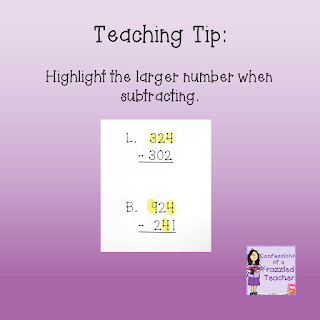Quick Teaching Tip: Highlight the larger number when subtracting