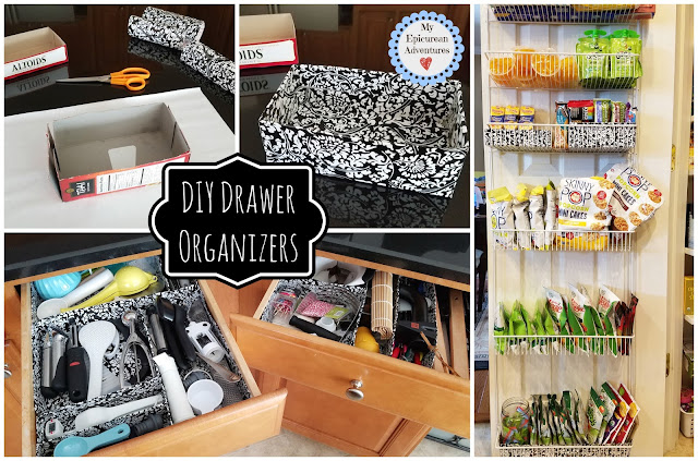 DIY Drawer/Shelf Organizers made cheap and easy using contact paper and cereal boxes!
