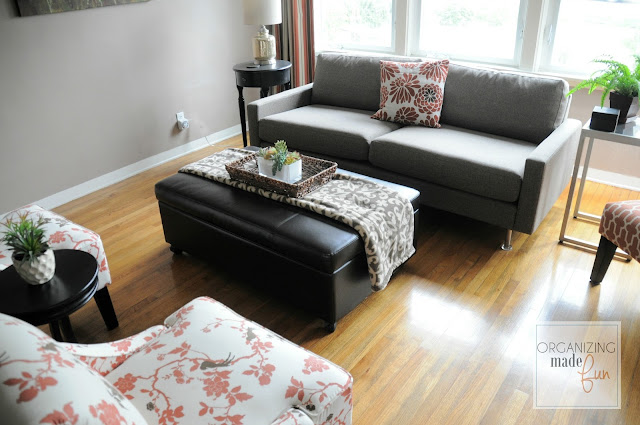 Updated living room :: OrganizingMadeFun.com