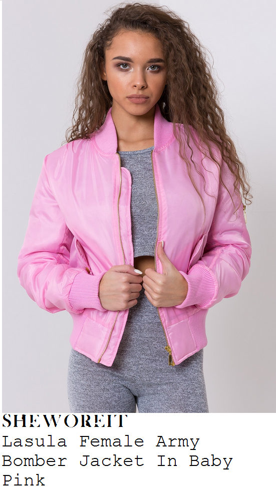 amber-rose-la-sula-female-army-baby-pink-gold-bomber-jacket