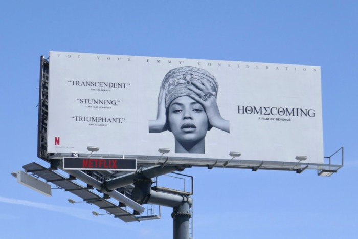 Beyoncé Homecoming Emmy consideration billboard