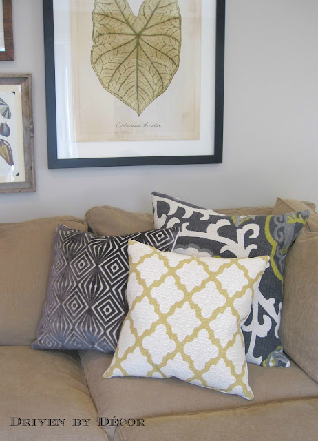 As Well As Two Gray And Cream Tufted Trellis Pillow Covers On The Sofa In  My Living Room:
