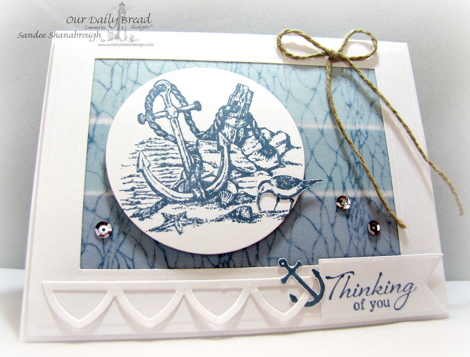 Stamps - Our Daily Bread Designs Anchor the Soul, Fishing Net Background, ODBD Custom Pennants Die, ODBD Custom Cathedral Window and Border Dies