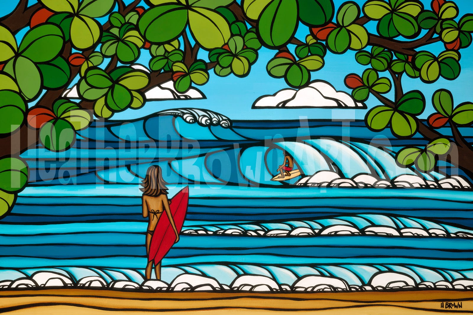 hawaii art surfing
