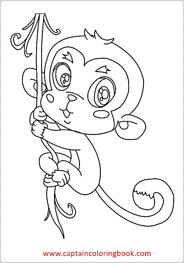 Monkey Coloring Pages Kids Carton Book
