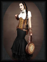 The trumpet skirt is a popular silhouette in steampunk fashion, based on victorian era hourglass silhouettes