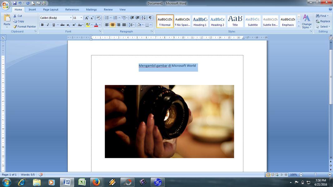 Gambar cara menangkap dan mengambil gambar di dokumen microsoft world