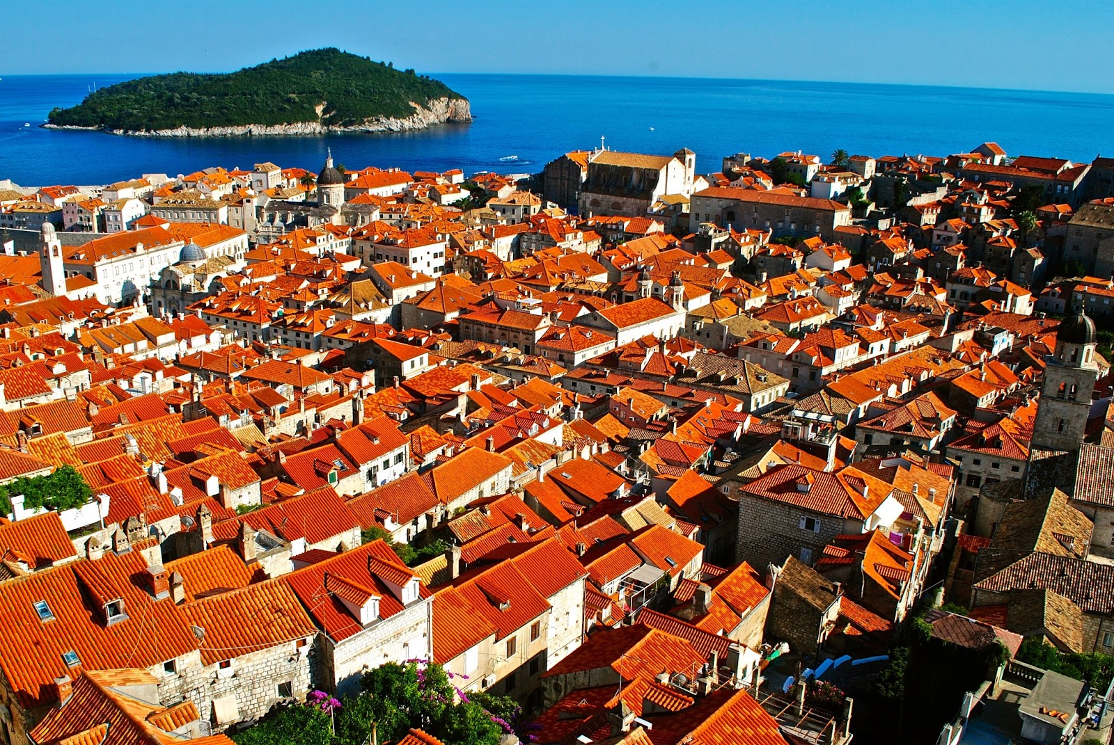 View over Dubrovnik Old Town in Croatia from Wall