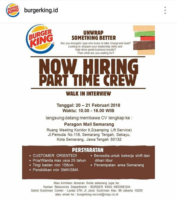 Walk In Interview Part Time Burger King Semarang 20 - 21 Februari 2018