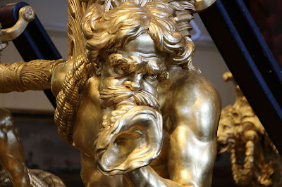 Triton detail on Gold State Coach at the Royal Mews, Buckingham Palace