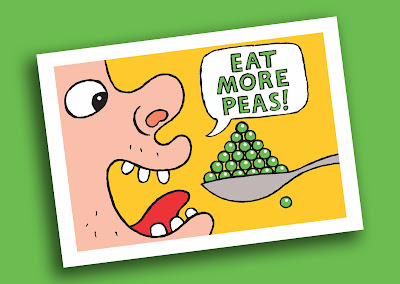 """Illustration of person eating peas with slogan """"eat more peas"""""""