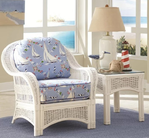 White Rattan Chair Nautical Fabric Cushions