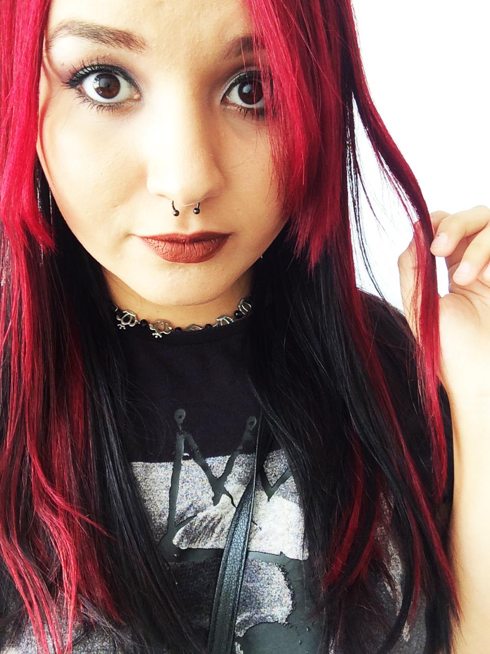Fabuloso Cantinho da Key : Meu cabelo Vermelho e preto! JN96