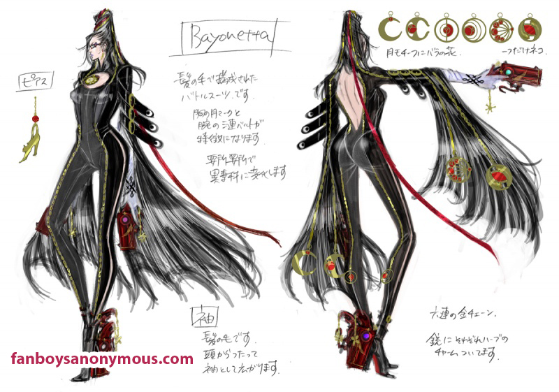 Early designs for sexy video game character who has magic hair, named Bayonetta