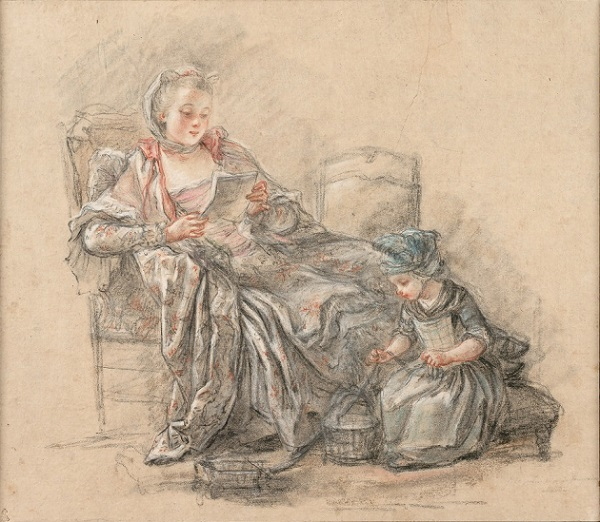 Francois Guérin, A Woman Reading and a Girl Playing (presumably Madame de Pompadour and her daughter Alexandrine), ca. 1748.