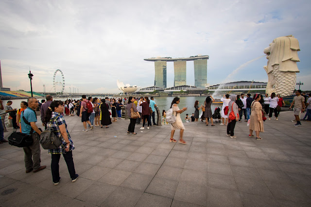 Marina bay Sands, Ruota panoramica e Merlion-Singapore