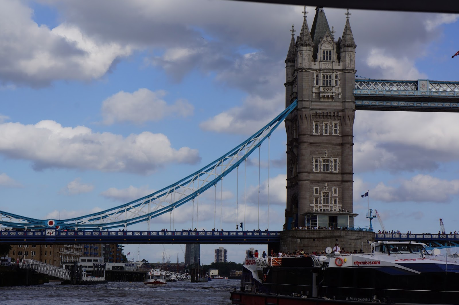 the tower bridge from the river boat