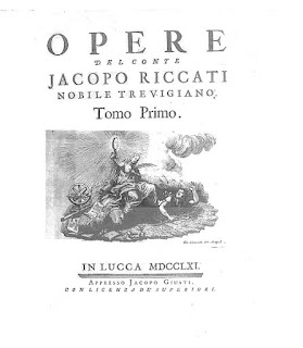 Riccati's works were published in four volumes