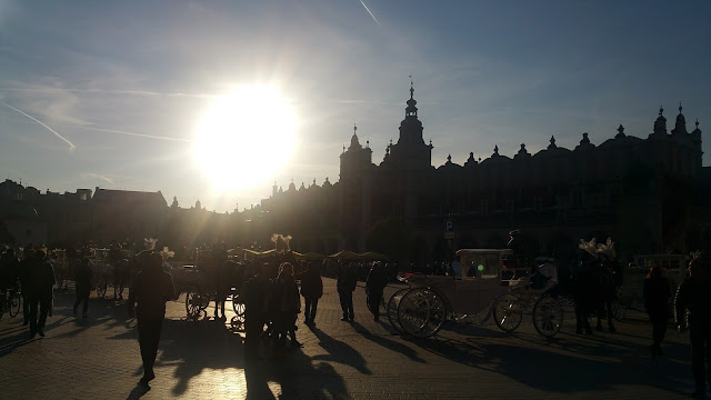 Sunset over the Cloth Hall in the Rynek Glowny, Krakow