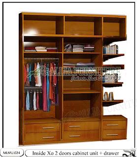 Dalam lemari minimalis model unit cabinet Xo