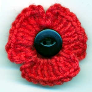 Crocheted poppy pin