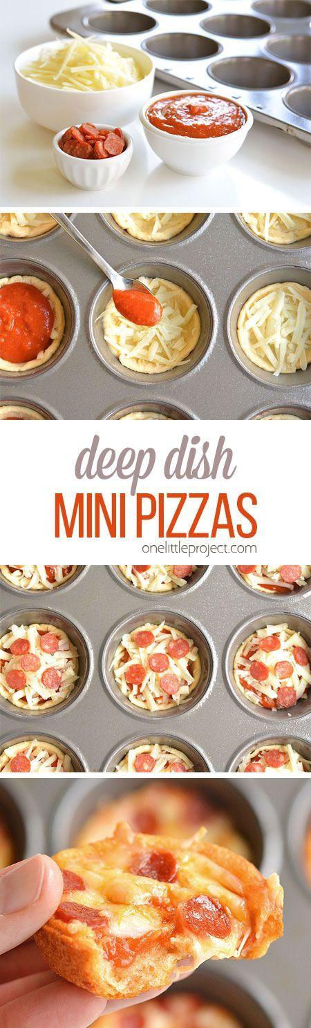 Deep Dish Mini Pizzas #pizza #minipizza #easyrecipe #lunch #foodhunter