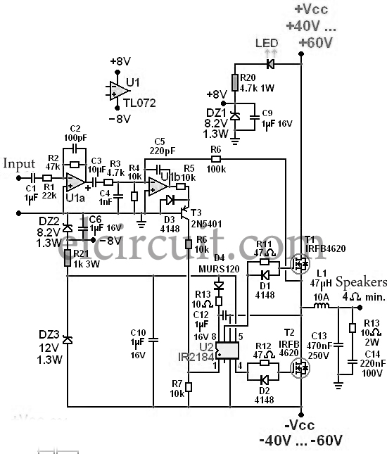 300W Class D Power Amplifier Circuit - Electronic Circuit