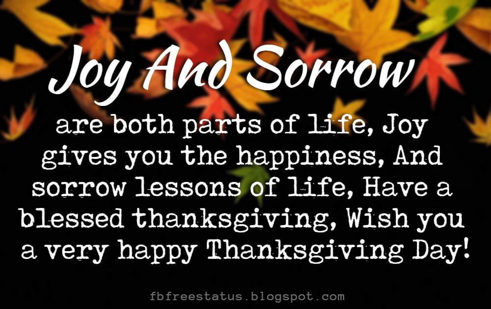 Messages For Thanksgiving, Joy and sorrow are both parts of life, Joy gives you the happiness, And sorrow lessons of life, Have a blessed thanksgiving, Wish you a very happy Thanksgiving Day!