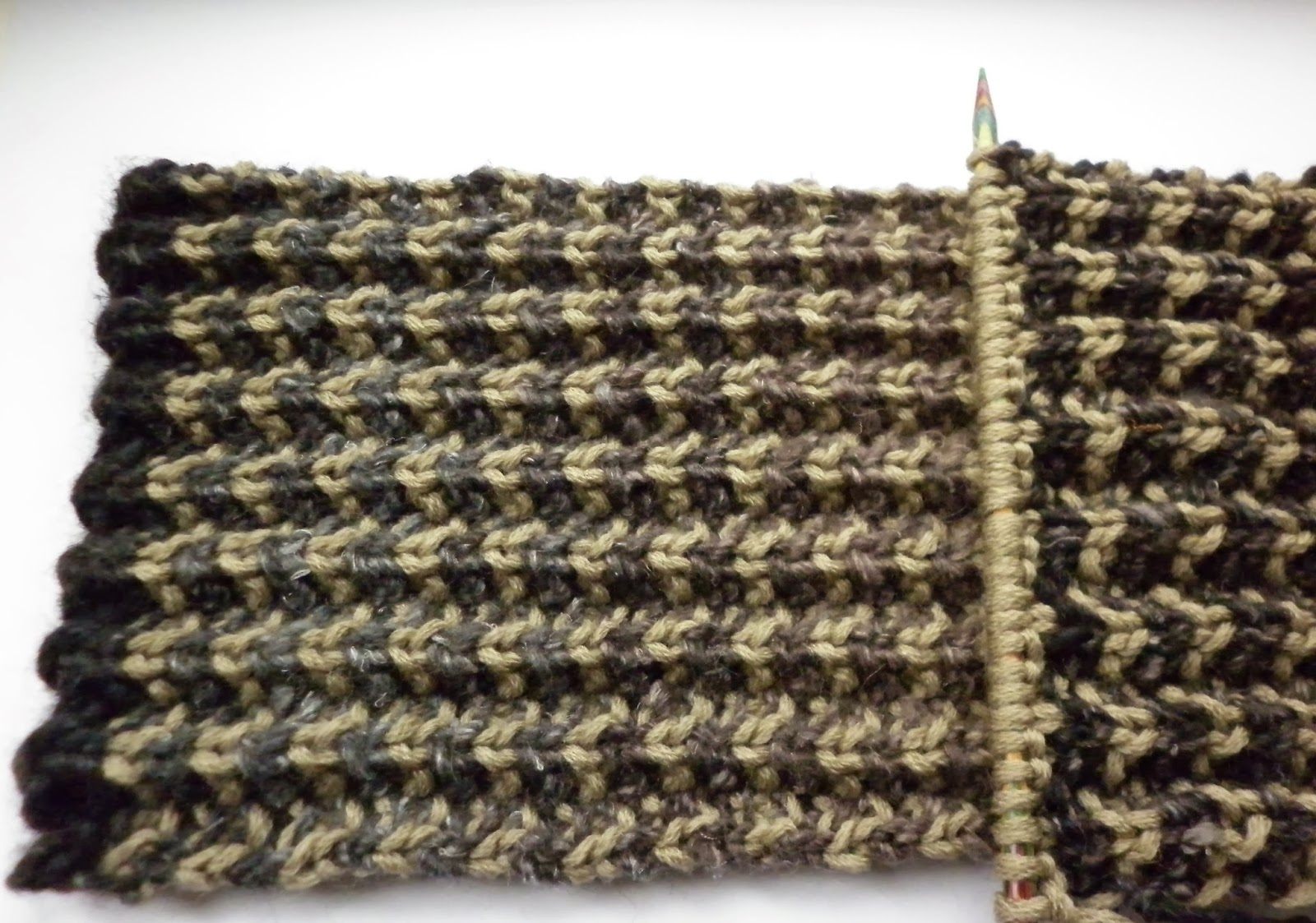 Two Colour Scarf Knitting Pattern :