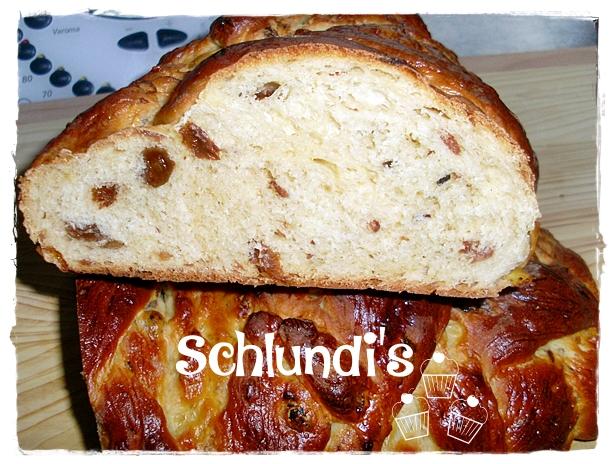 Hefezopf mit Rosinen – Schlundis