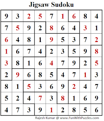 Jigsaw Sudoku Puzzle (Daily Sudoku League #187) Solution