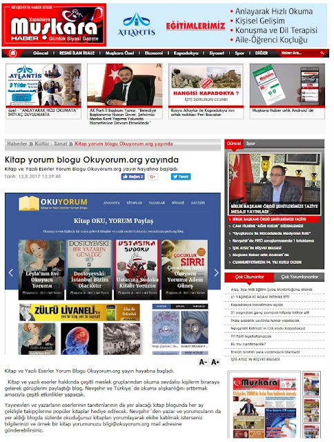 Kitap Blogu Okuyorum.org Muşkara Gazetesi'nde
