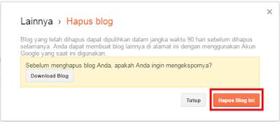 Cara menghapus blog permanen